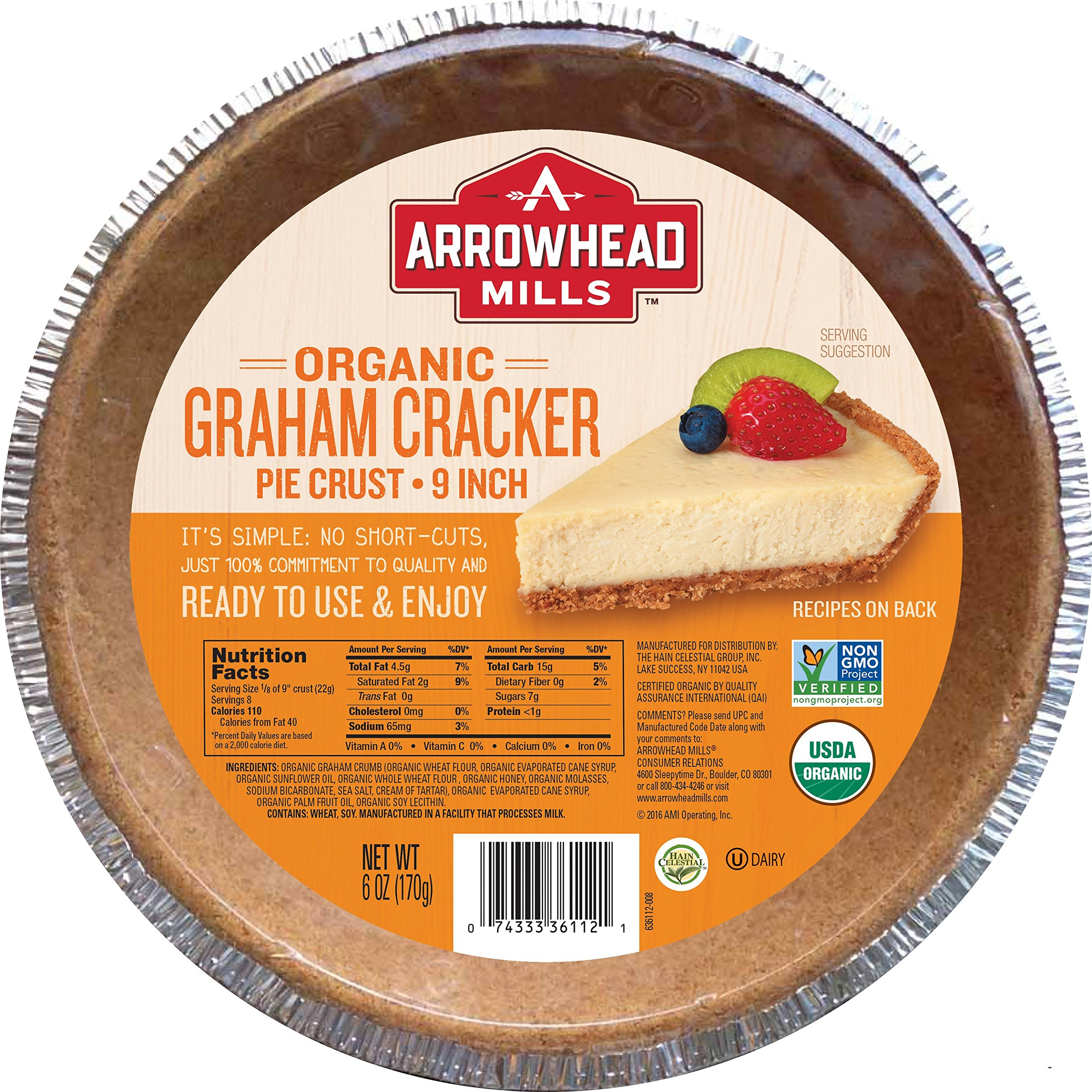 Arrowhead Mills Organic Graham Cracker Pie Crust, 9 Inch, 6 oz. (Pack of 12)