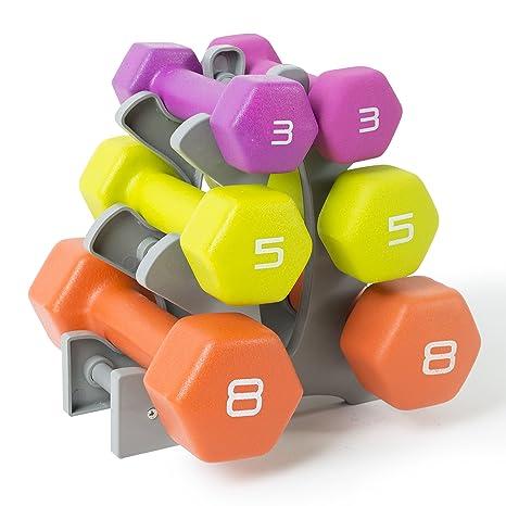 amazon com tone fitness neoprene dumbbell set with rack 32 lb