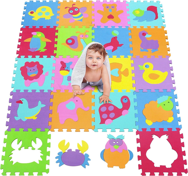 MU SHEN-Tappeto Puzzle con Certificato CE e Certificazione T/ÜV in soffice Schiuma Eva Tappetino Puzzle Animale Tappeto da Gioco per Bambini 1014
