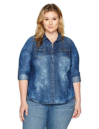 85c5463b39a YMI Women's Plus Size Juniors Chambray Button-up Top at Amazon Women's  Clothing store: