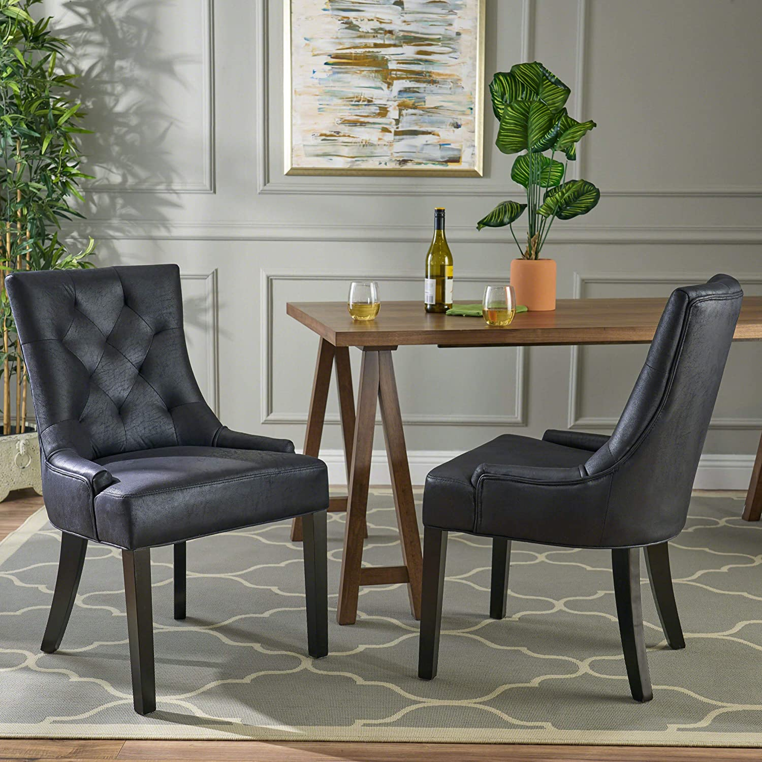 Christopher Knight Home Sarah Traditional Microfiber Dining Chairs (Set of 2), Navy Blue