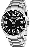 Stuhrling Original 395.33B11 - Reloj analógico de cuarzo para hombre, correa de acero inoxidable color plateado (agujas luminiscentes)