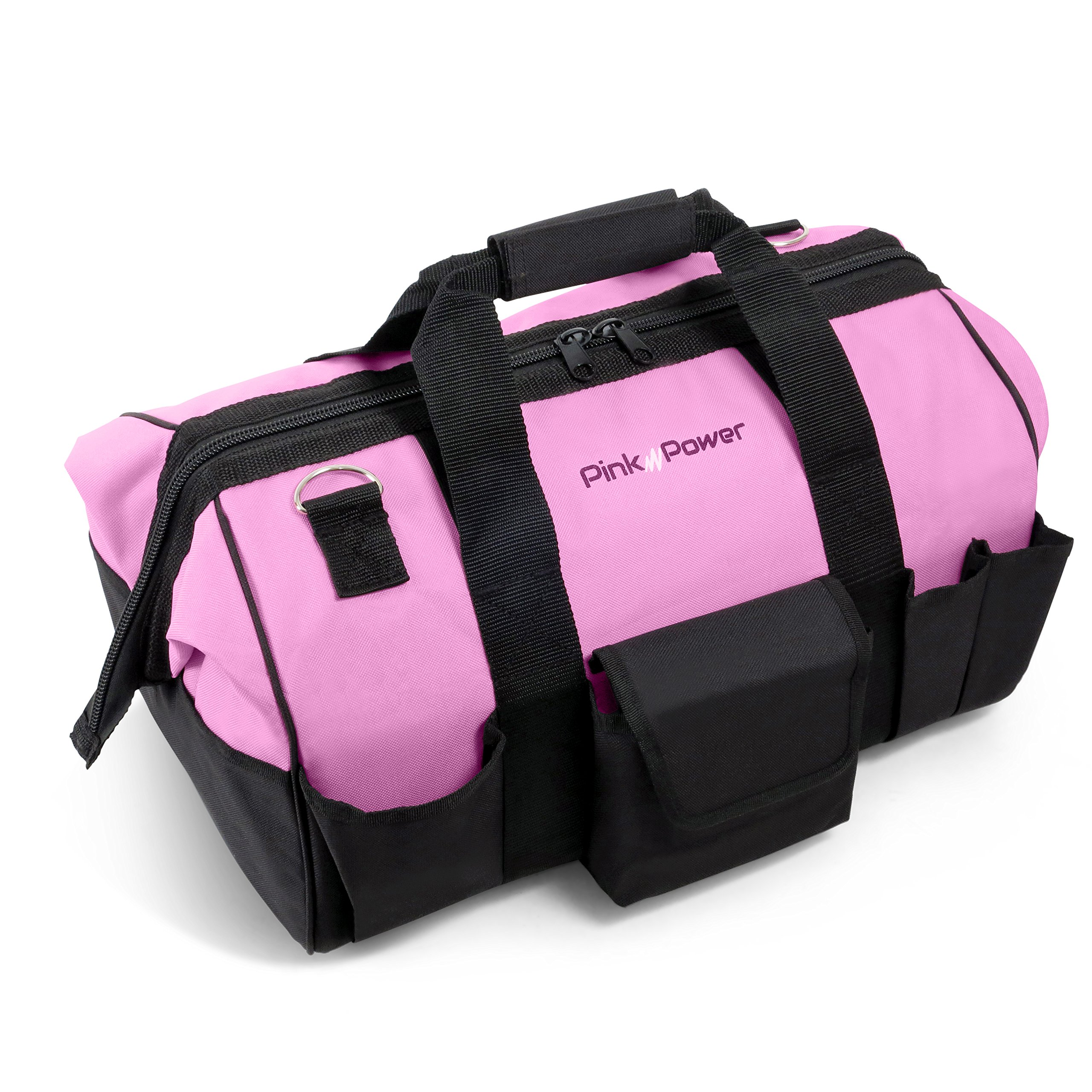 "Pink Power 20"" Tool Bag for Women with 28 Storage Pockets and Shoulder Strap"