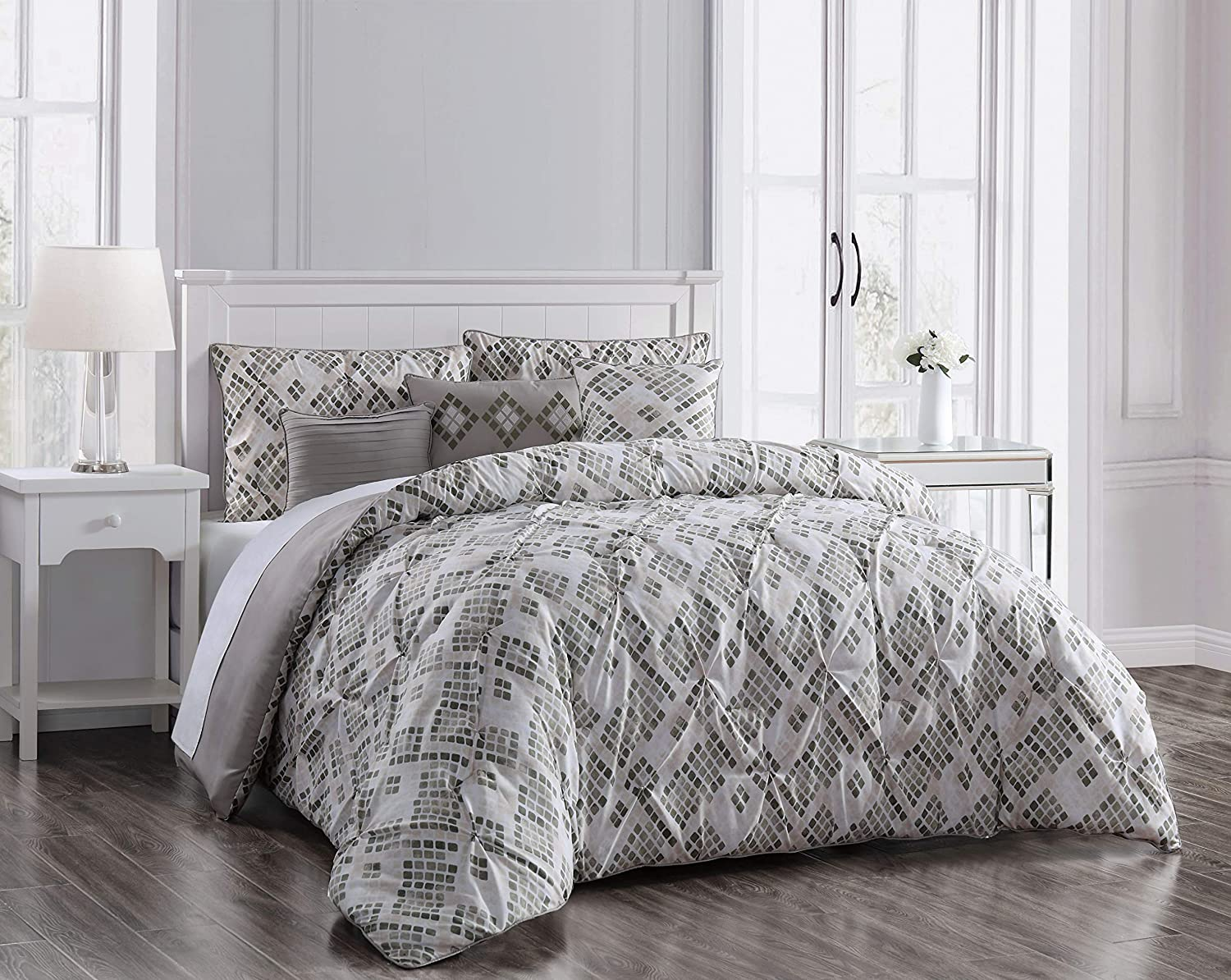 Geneva Home Fashion Germaine Comforter Set Queen Grey