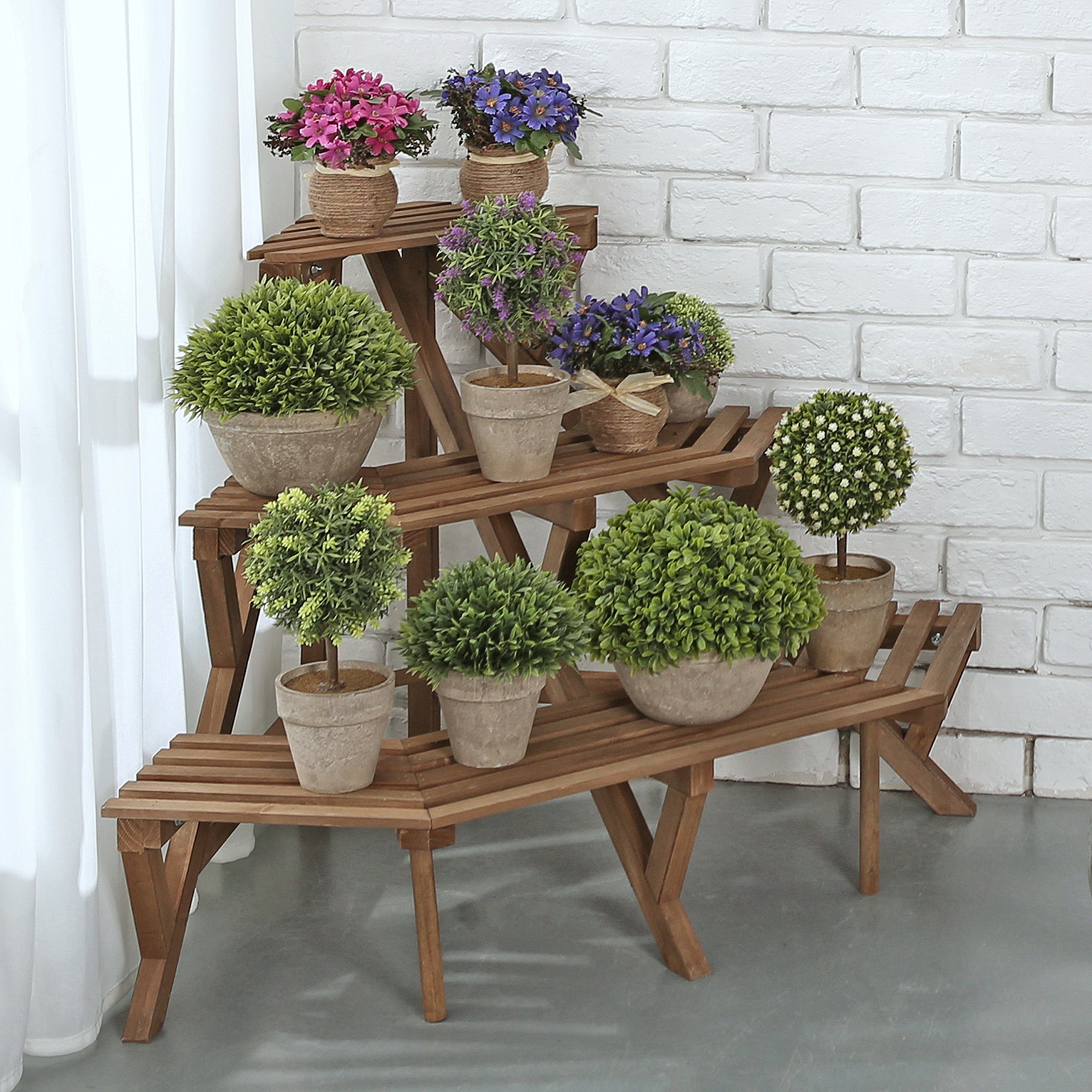 MyGift Rustic Brown Wood Planter Stand, Freestanding 3 Tier Corner Shelf Rack by MyGift