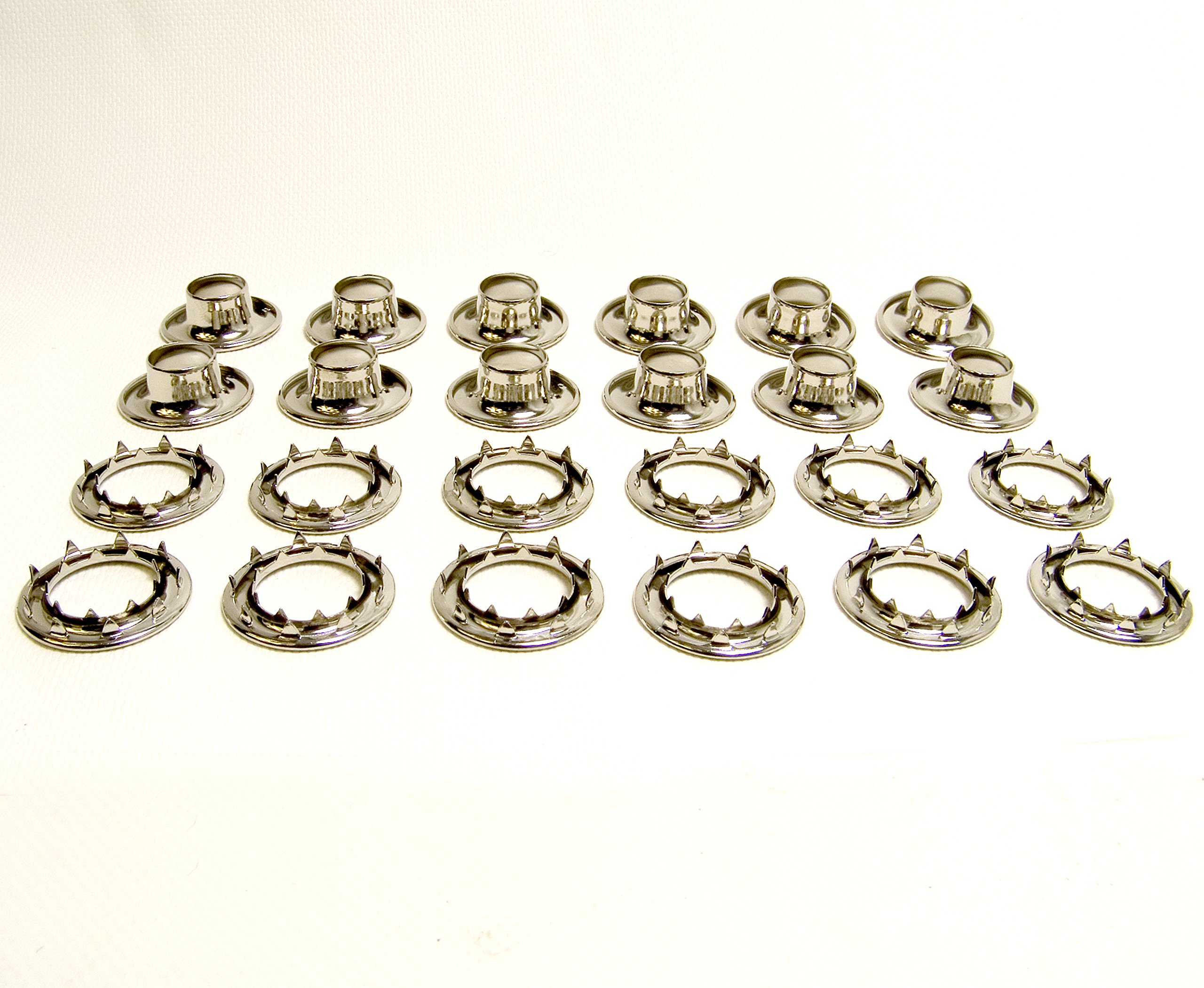 Grommets, #5 Nickle Plated Brass, Heavy Duty Rolled Rim Spur, 5/8'' Inch Hole, 12 Pc. Set - N.W. Tarp & Canvas