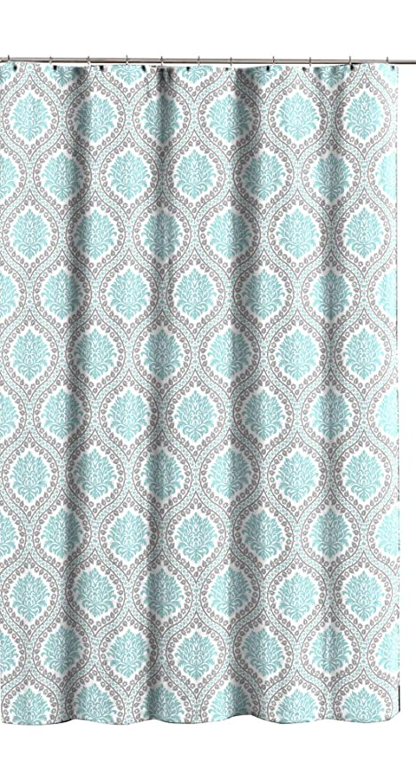 Image Unavailable Not Available For Color Aqua Grey White Fabric Shower Curtain