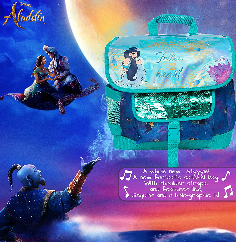 Design Innovant Cartable Et Sacs /À Dos Enfant pour /École Ou Cr/èche Disney Cartable Sac /À Dos Fille Sac /À Dos Aladdin avec Motif Holographique Paillettes et Princesse Jasmine