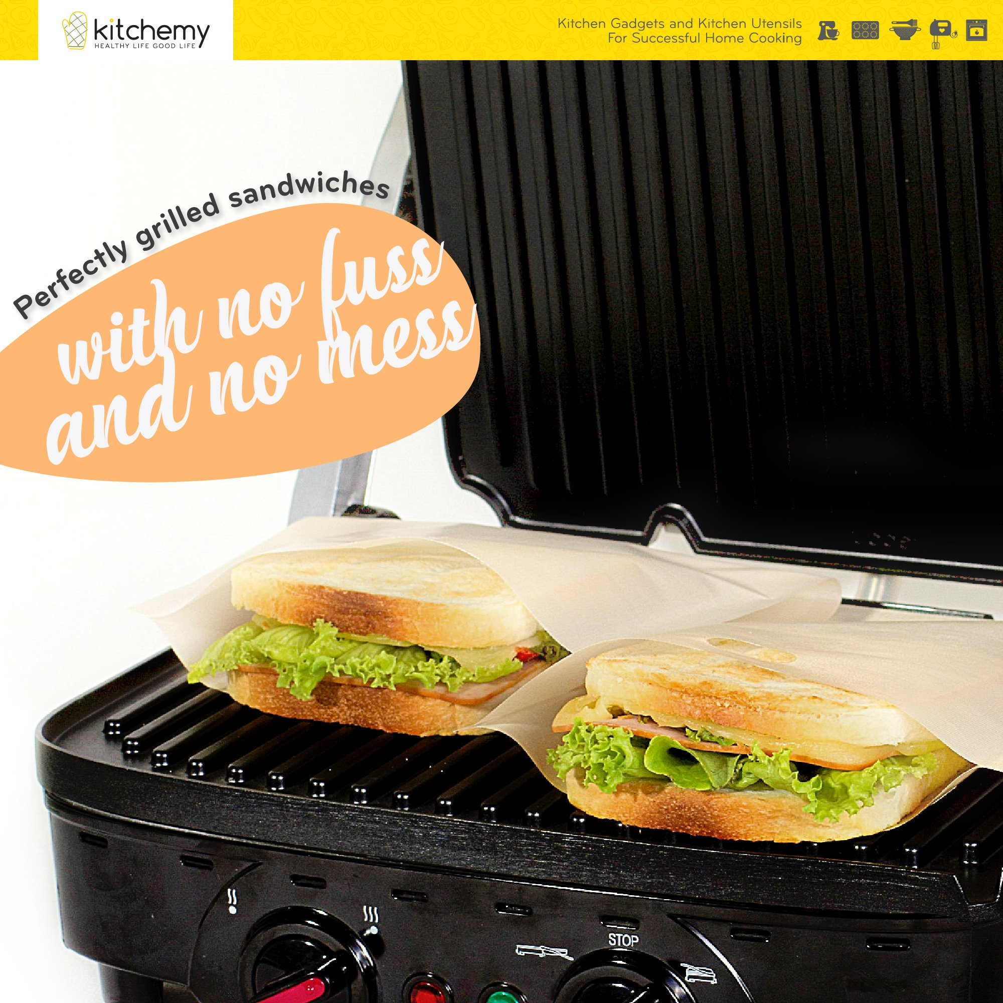 2018 UPGRADED 12 Pack Toaster Bags Reusable for Grilled Cheese Sandwich | Safest On The Market - FDA & LFGB Approved - 100% BPA & Gluten Free | Non Stick Toast Bag Made of Premium Quality Teflon by Kitchemy (Image #5)