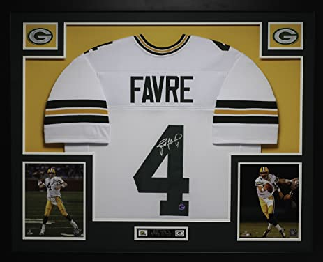 Brett Favre Autographed White Packers Jersey Beautifully Matted