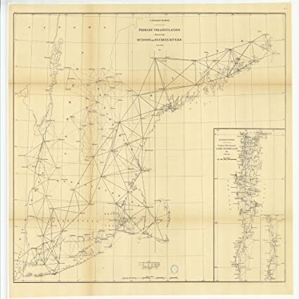 Amazoncom Vintography 18 X 24 Canvas 1875 New Jersey Old Nautical - Lake-champlain-on-us-map