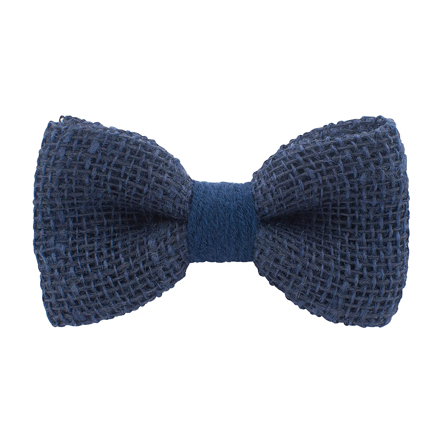 Bow Tie House Rustic Pre-Tied Bow Tie in 100% Burlap Hessian (Small, Blue) 07735