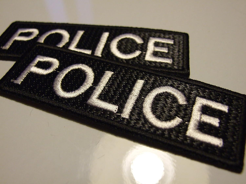 2 x POLICE 9.5 x 3 cm Bü gelbild Aufnä her Applikation Emblem in Steppstich-Optik Effect