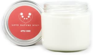 LOVE NATURE NYC Natural Soy Candle Jar, Apple Cider Scented, 60 Hours, Clean Burning Non-Toxic, Fragrance Notes of Delicious Apple Cider