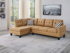 Oadeer Home, us_furniture, OADEF Sofa & Chaise, Yellow Faux Leather