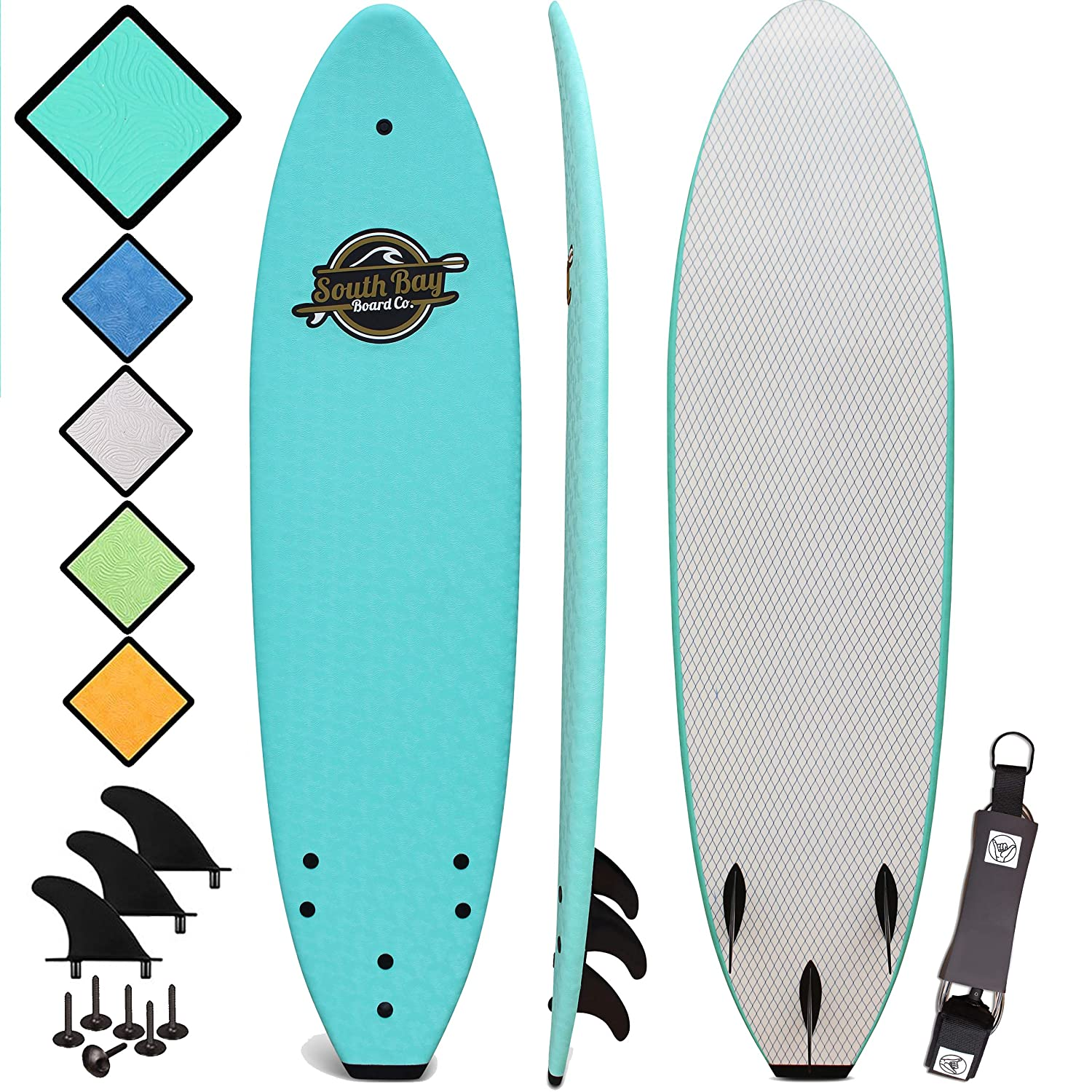 Soft Top Surfboard - Best Foam Surf Board for Beginners, Kids, and Adults - Soft Top Surfboards for Fun & Easy Surfing