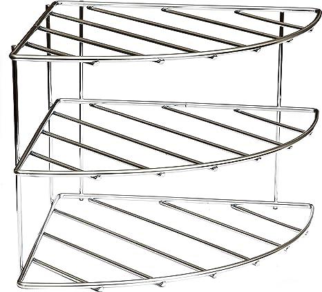Corner Shelf Plate Rack Stand - 3 Tier - Chrome