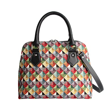 Colourful Geometric Women s Fashion Canvas Tapestry Top Handle Handbag with Detachable  Strap to Convert to Shoulder cb9a4b9f5587f