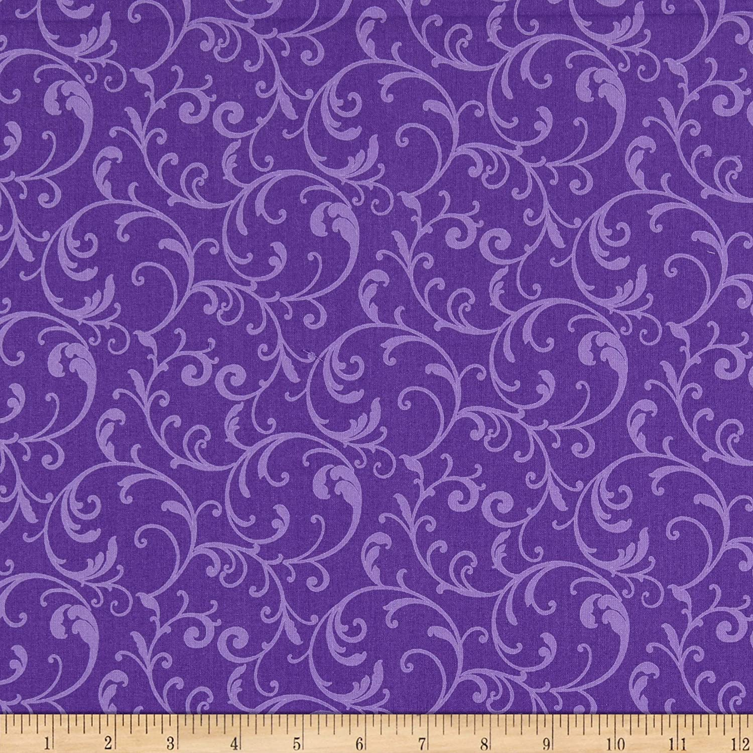 Benartex Classic Scrolls And Blenders Classic Scroll Purple Quilt Fabric By The Yard
