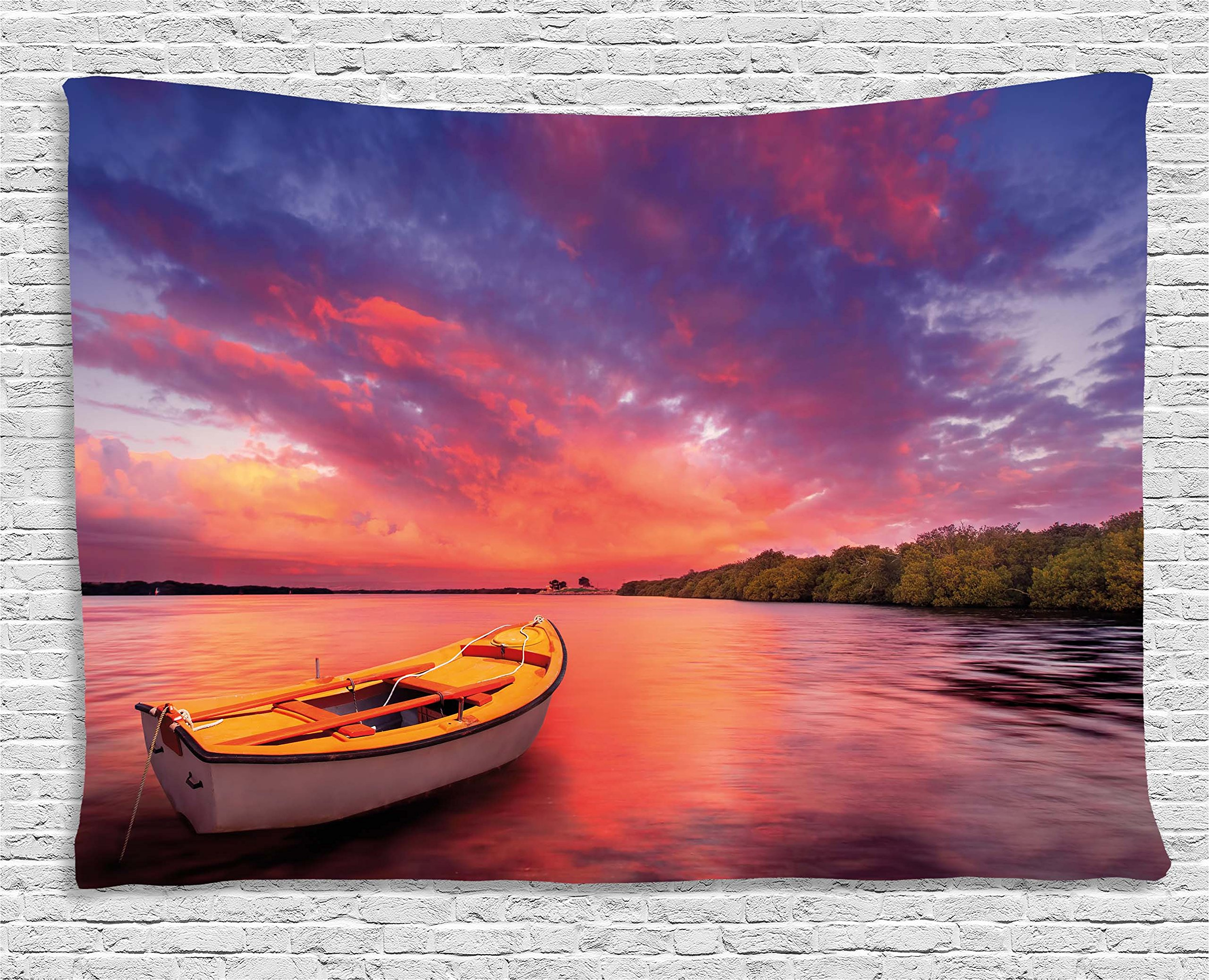 Ambesonne Sunset Tapestry, Enchanted Coast with a Rowboat Under Hazy Sky Peaceful Nature Image, Wide Wall Hanging for Bedroom Living Room Dorm, 80'' X 60'', Purple Pink by Ambesonne