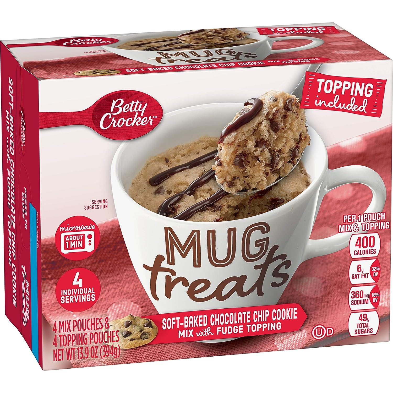 Betty Crocker Mug Treats, Chocolate Chip Cookie Mix with Fudge Topping, 13.9 oz