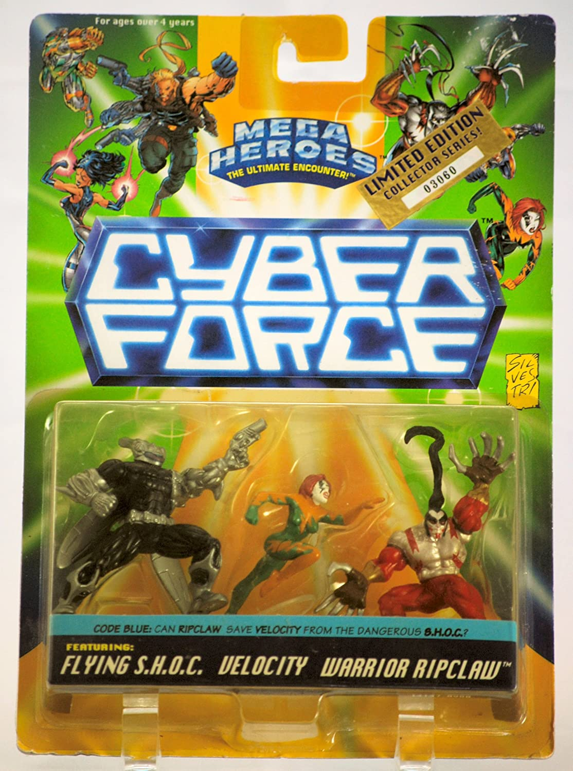 3 Figure Set w// Flying S.H.O.C // Velocity // Warrior Ripclaw 1995 RARE Numbered Action Figure Set Cyber Force #03060 Limited Edition Mega Heroes Mattel // Top Cow MOC Collectible 14137
