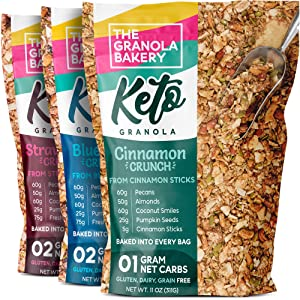 TGB Keto Granola Variety Pack | 1g Net Carb Snack | Low Carb Nut Cereal | Healthy Artisanal Food, 11 Ounces (Pack of 3)