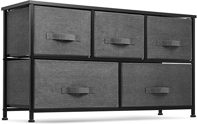 5 Drawer Dresser Organizer Fabric Storage Chest For Bedroom Hallway Entryway Closets Nurseries Furniture Storage Tower Sturdy Steel Frame Wood Top Easy Pull Handle Textured Print Drawers Kitchen Dining Amazon Com