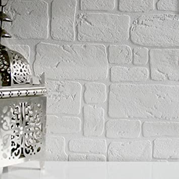 Exceptionnel Paintableu0027 Faux Brick Wallpaper In White (Sample): Amazon.co.uk: Kitchen U0026  Home
