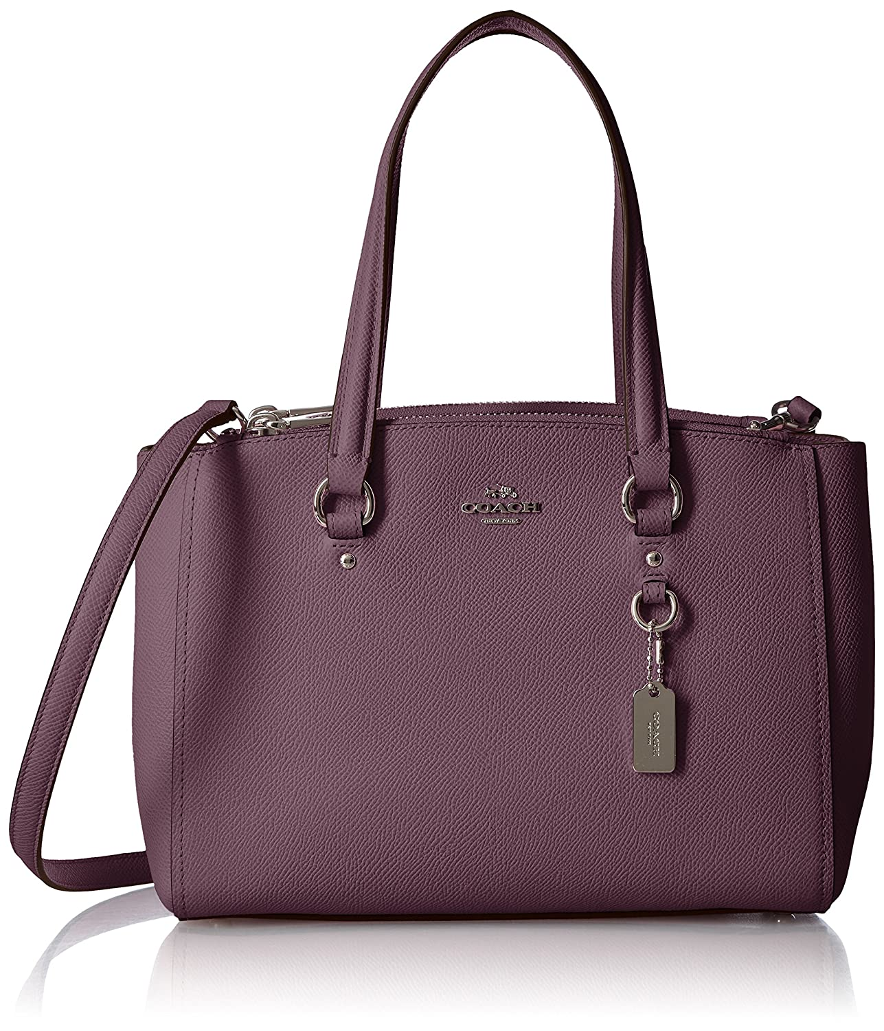 COACH Women's Crossgrain Mini Double Zip Carryall SV/Eggplant Satchel