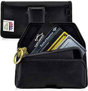 product image for Turtleback Wallet Case for iPhone 8, 7, 6, 5, SE Smartphone Wallet Credit Card Pocket Case Belt Clip Holster Small Case Holder D Ring, Executive Belt Clip, Black Leather Pouch, Horizontal Made in USA