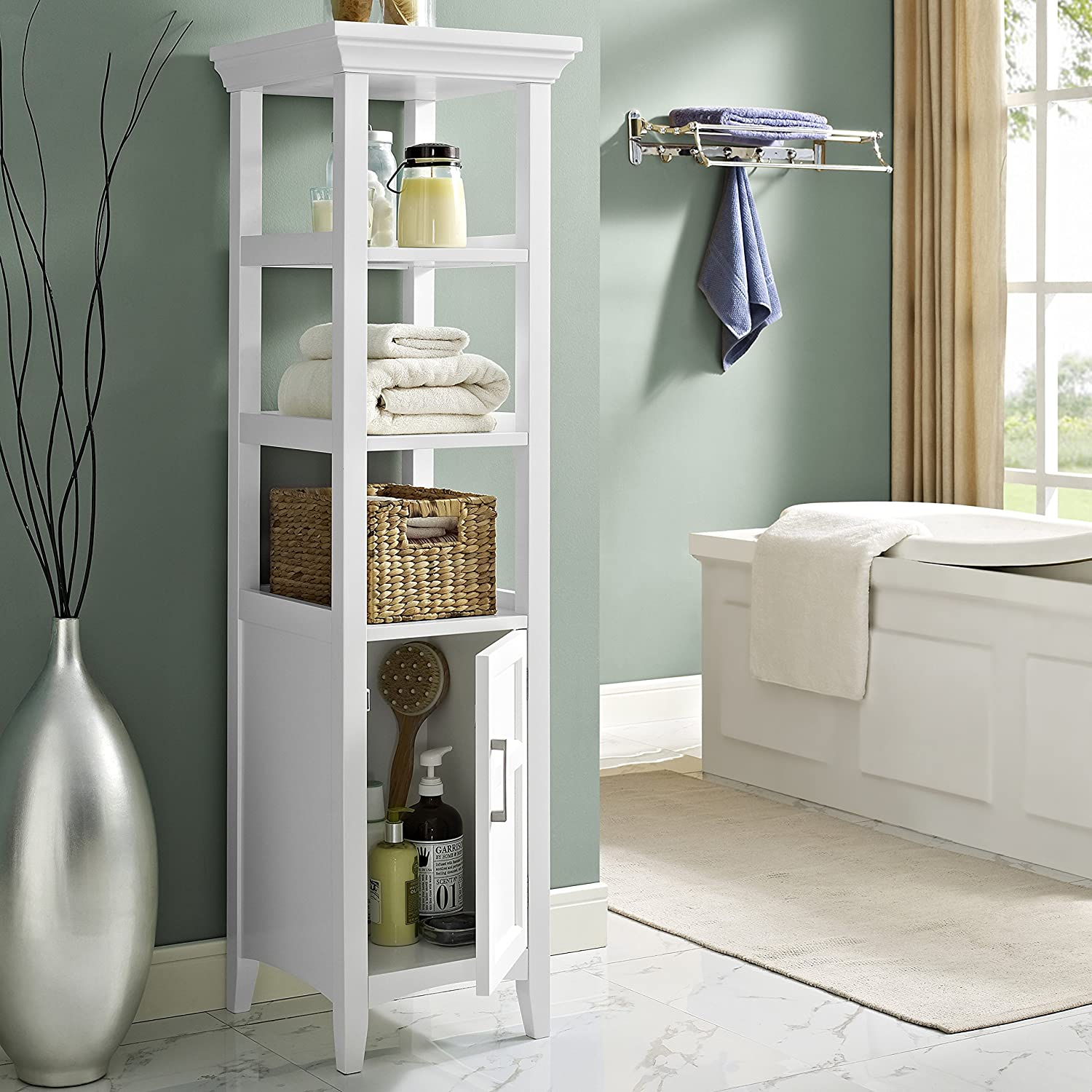 Superbe Amazon.com: Simpli Home Avington Bath Storage Tower, White: Home U0026 Kitchen