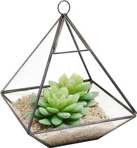 Hanging Clear Glass Prism Air Plant Terrarium/Tabletop Succulent Planter/Tea Light Candle Holder