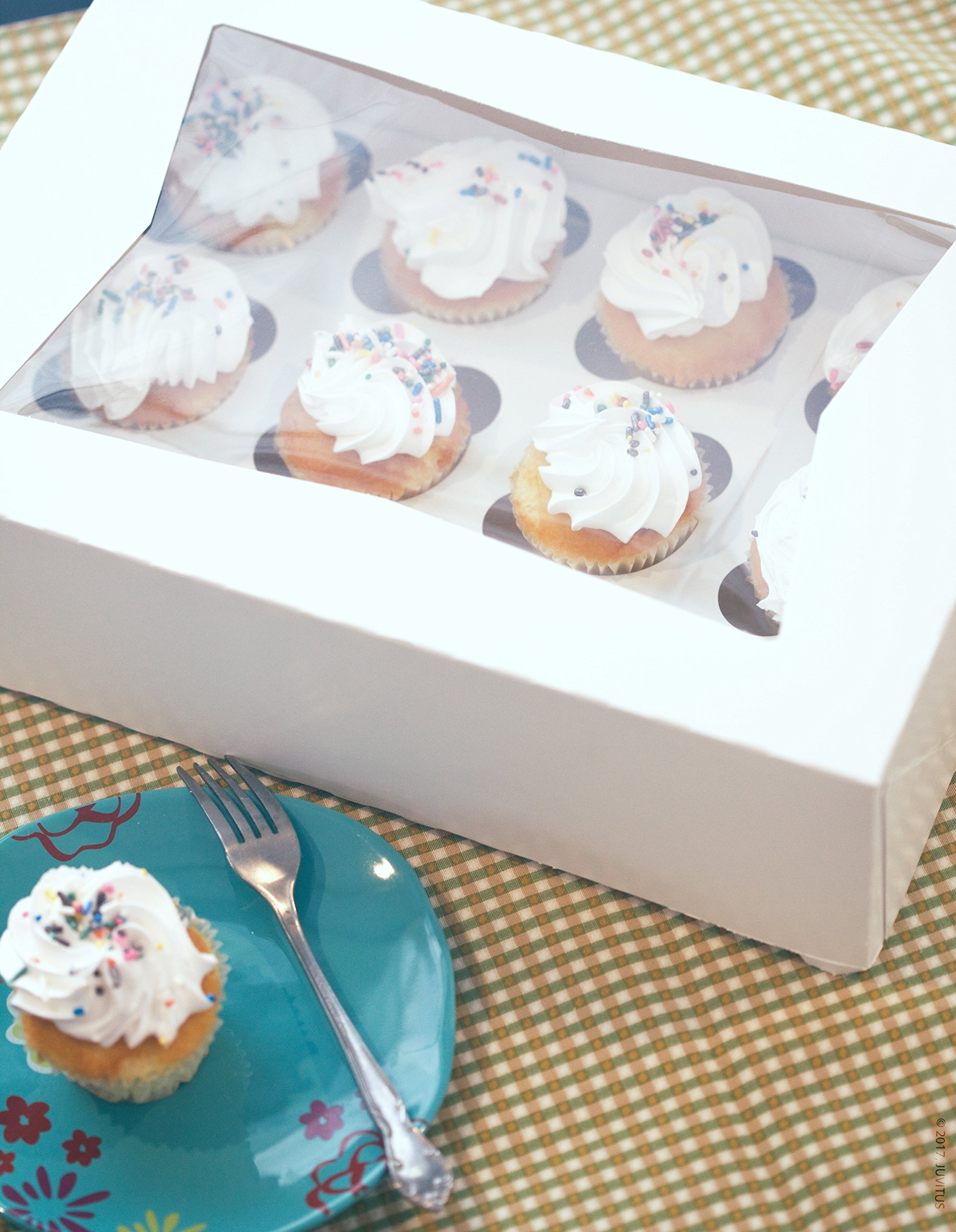 24 PACK - Professional White Cupcake Bakery Box with Clear See Through Window - Holds 12 Cupcakes/Inserts Included