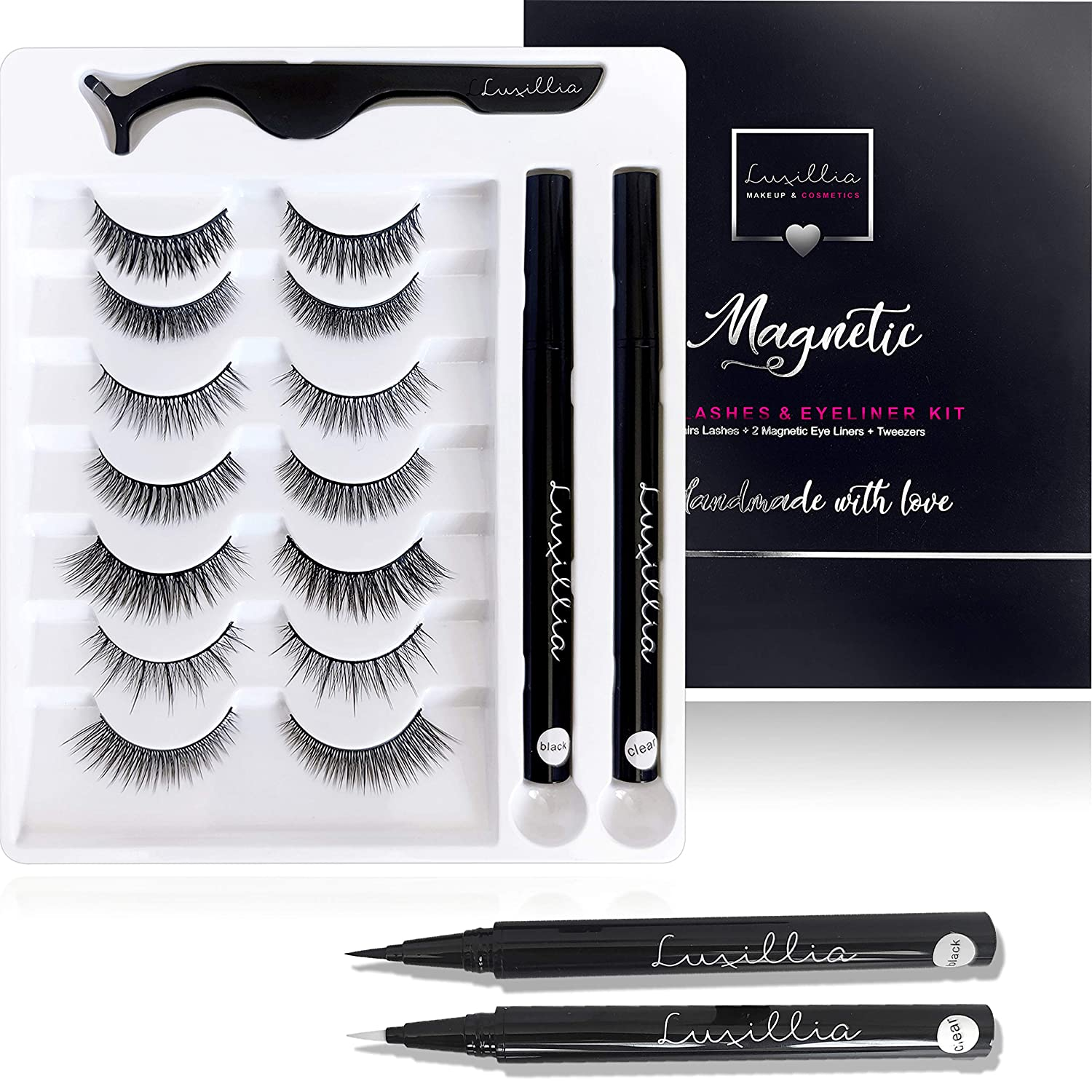 (7 Pairs with Clear and Black Liners) Luxillia by Amazon Self Adhesive Eyeliner and Eyelashes Kit - 8D Natural Look Eyelash No Magnets Needed - Reusable Eye Lash with Waterproof Pen Liner, Free Applicator