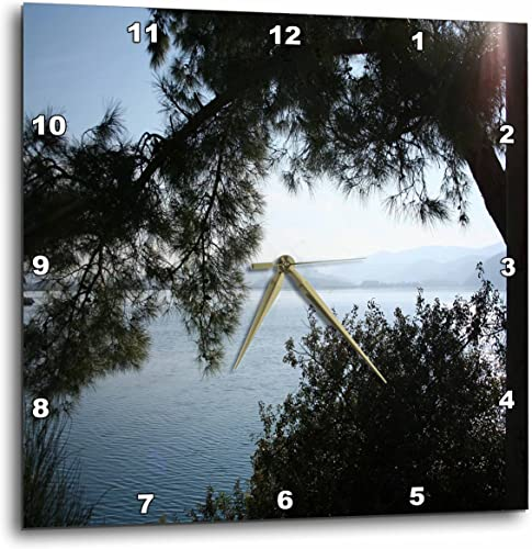3dRose DPP_128309_3 Overhanging The Aegean Sea a Silhouette of Pine Trees on a Calm Sea Wall Clock, 15 by 15-Inch
