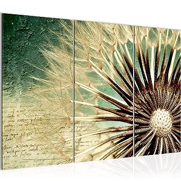 Bilder Blumen Pusteblume Wandbild 120 x 80 cm Vlies - Leinwand Bild XXL  Format Wandbilder Wohnzimmer Wohnung Deko Kunstdrucke Grün 3 Teilig - Made  IN ...