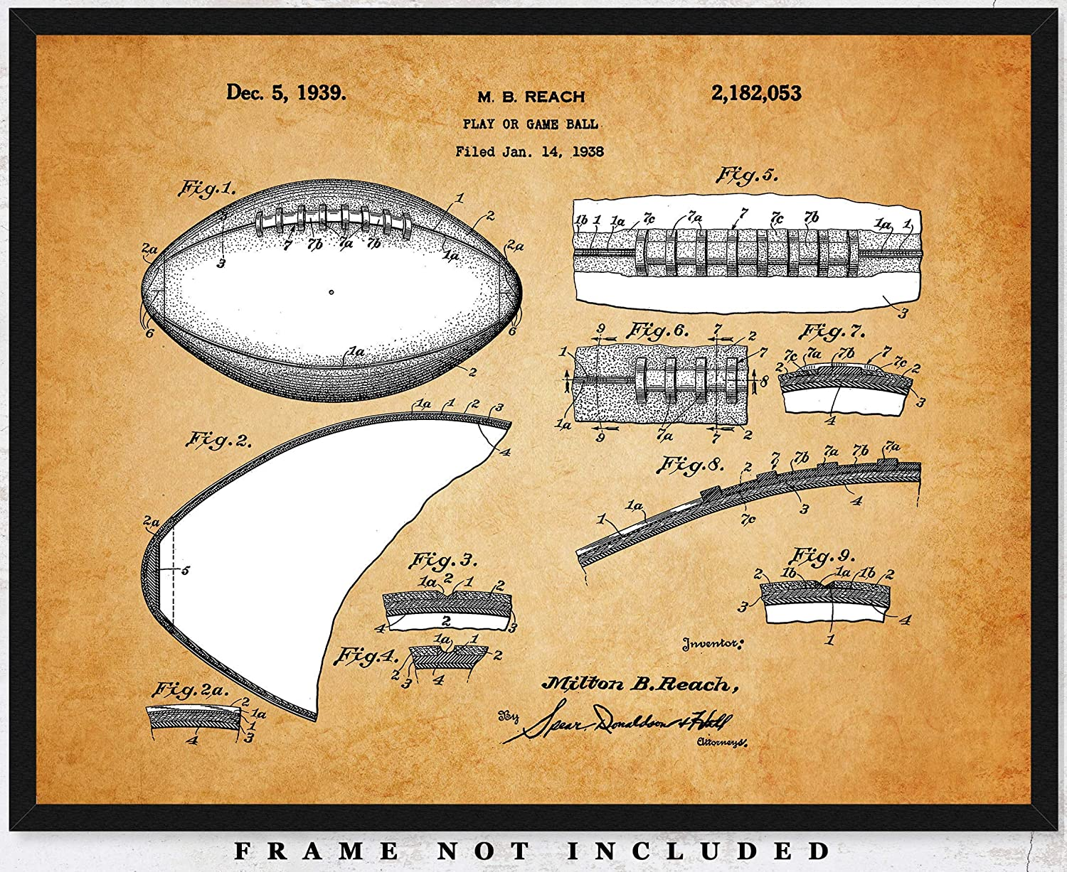Vintage Football Patent Poster Print: Unframed 11x14 Photo - Unique Wall Art Sports Decor For Boys, Girls, Home Office, Game Room & Man Cave - Great Gift Under $15 for Men, Women, Coach