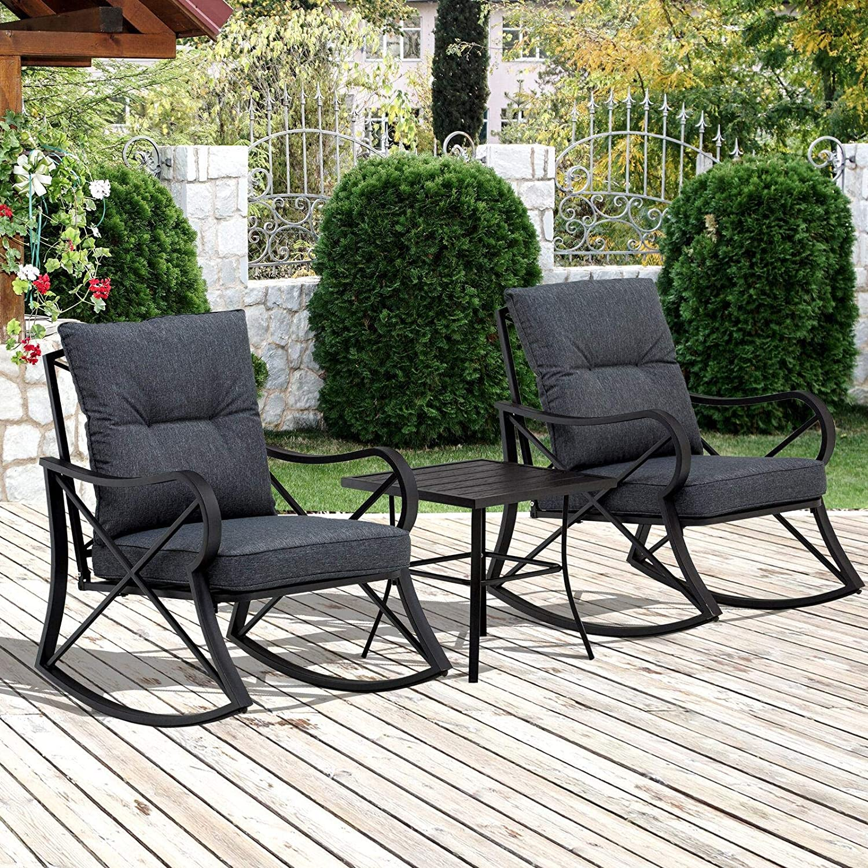 Goodline 3-PC Backyard Bistro Conversation Set w/Soft Cushions & Aluminum Frame, Black Patio Furniture Outdoor Furniture Patio Furniture Patio Set Table Set