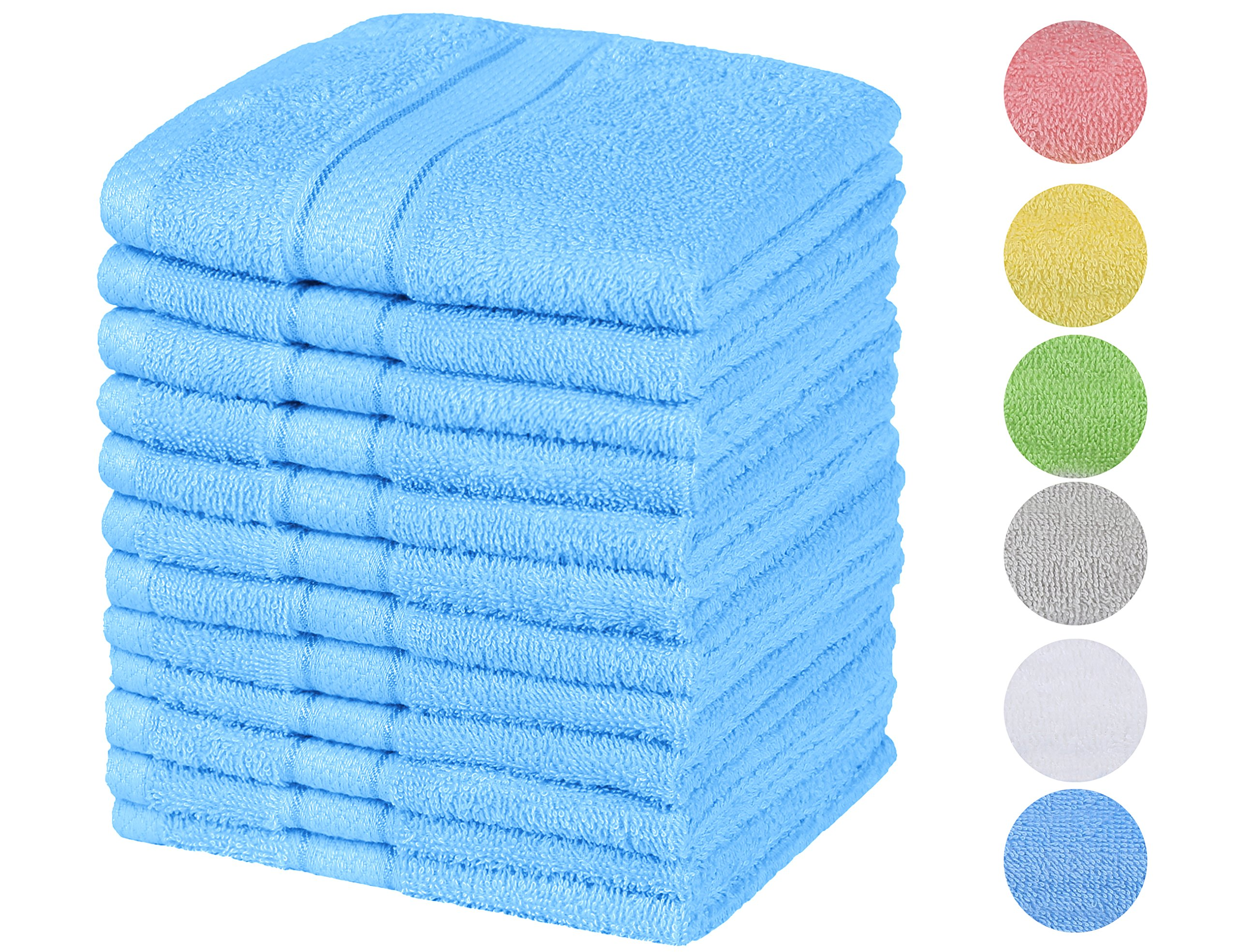 Chama Premium Luxury 100% Cotton Basic Baby & Hotel & Kitchen Hand Towels 13''x13'' Washcloth Set of 12 Pack(Blue)