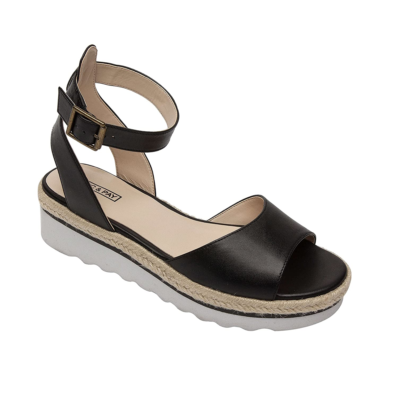 PIC/PAY CASA | Women's Comfortable Platform Ankle Strap Leather Sport Sandal B07B6G2CRS 5 B(M) US|Black Leather