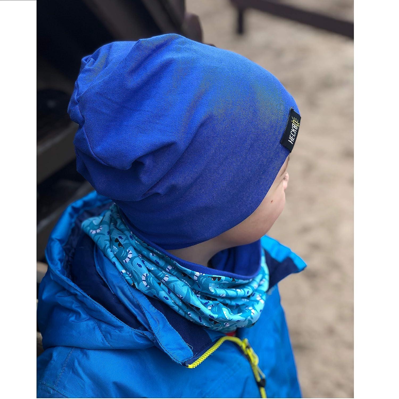 Wendem/ütze Hai Shark HECKBO/® Kinder Jungen Beanie M/ütze /& Loop-Schal Set weiches /& pflegeleichtes Stretch-Material Herbst geeignet f/ür Fr/ühling Sommer 2 bis 7 Jahren 95/% Baumwolle