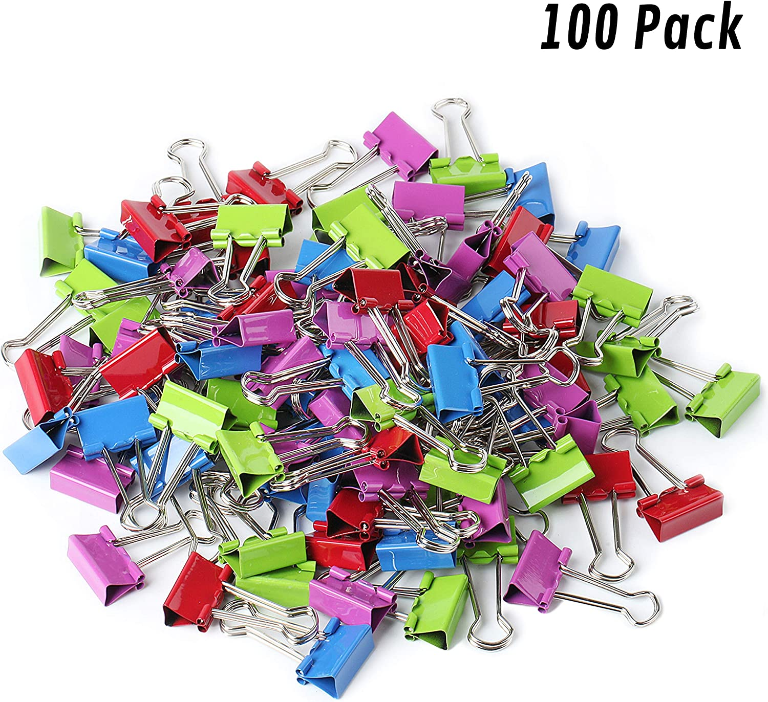 Mr. Pen- Binder Clips, Small Binder Clips, Pack of 100 Clips, Binder Clips Small, Paper Clips, Office Supplies, Colored Binder Clips, Paper Clamps, Office Clips, Mini Clips, Clips for Paper