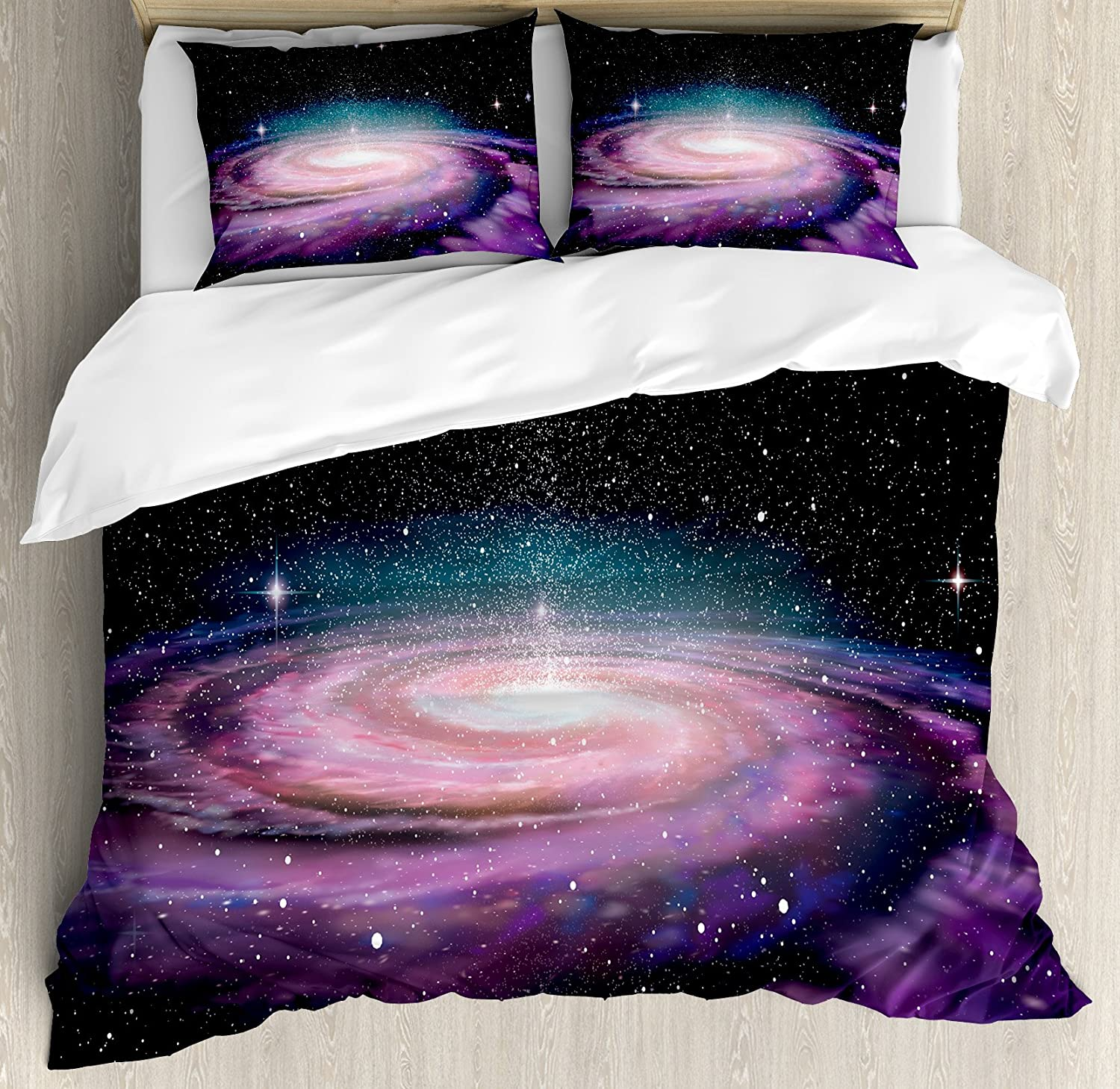 Galaxy Quilted Bedspread /& Pillow Shams Set Spiral Space Universe Print