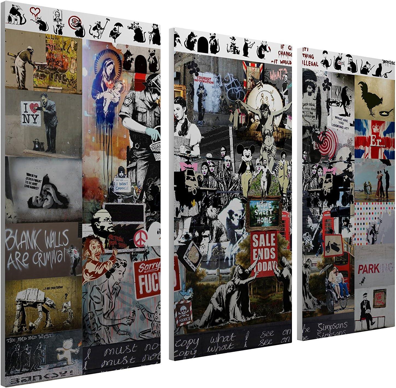Pingo World 0316qcmvj0m Mega Mix Collage Gallery Wrapped Canvas Triptych Art 48 X 30 Bonus Free Banksy Wall Decal Posters Prints