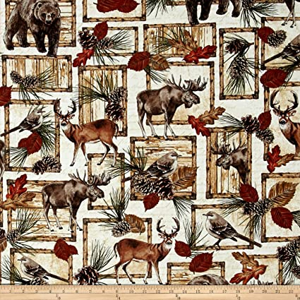Timeless Treasures 0454436 Cabin Rules Deer Bear Moose Patch Fabric By The Yard Cream