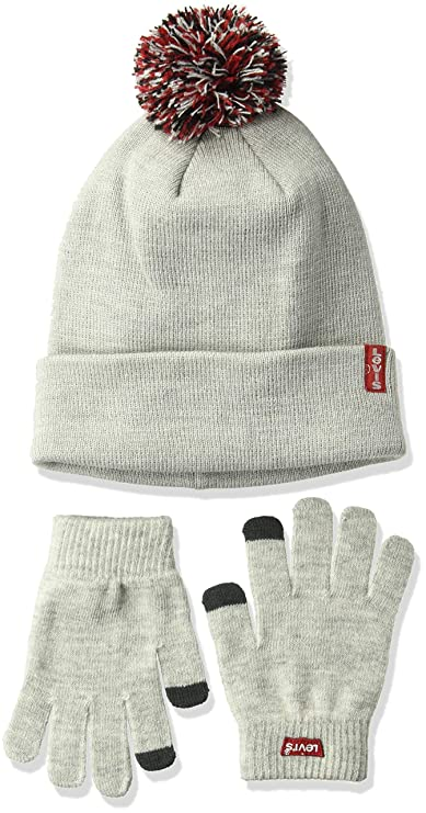 Levi's Kids' Big Tech Beanie and Glove Set, Light Grey Heather, O/S