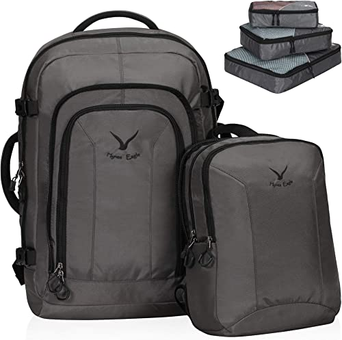 Hynes Eagle 2 in 1 Travel Backpack 48L Carry on Backpack with Removable Daypack,Grey with Grey 3PCS Packing Cubes