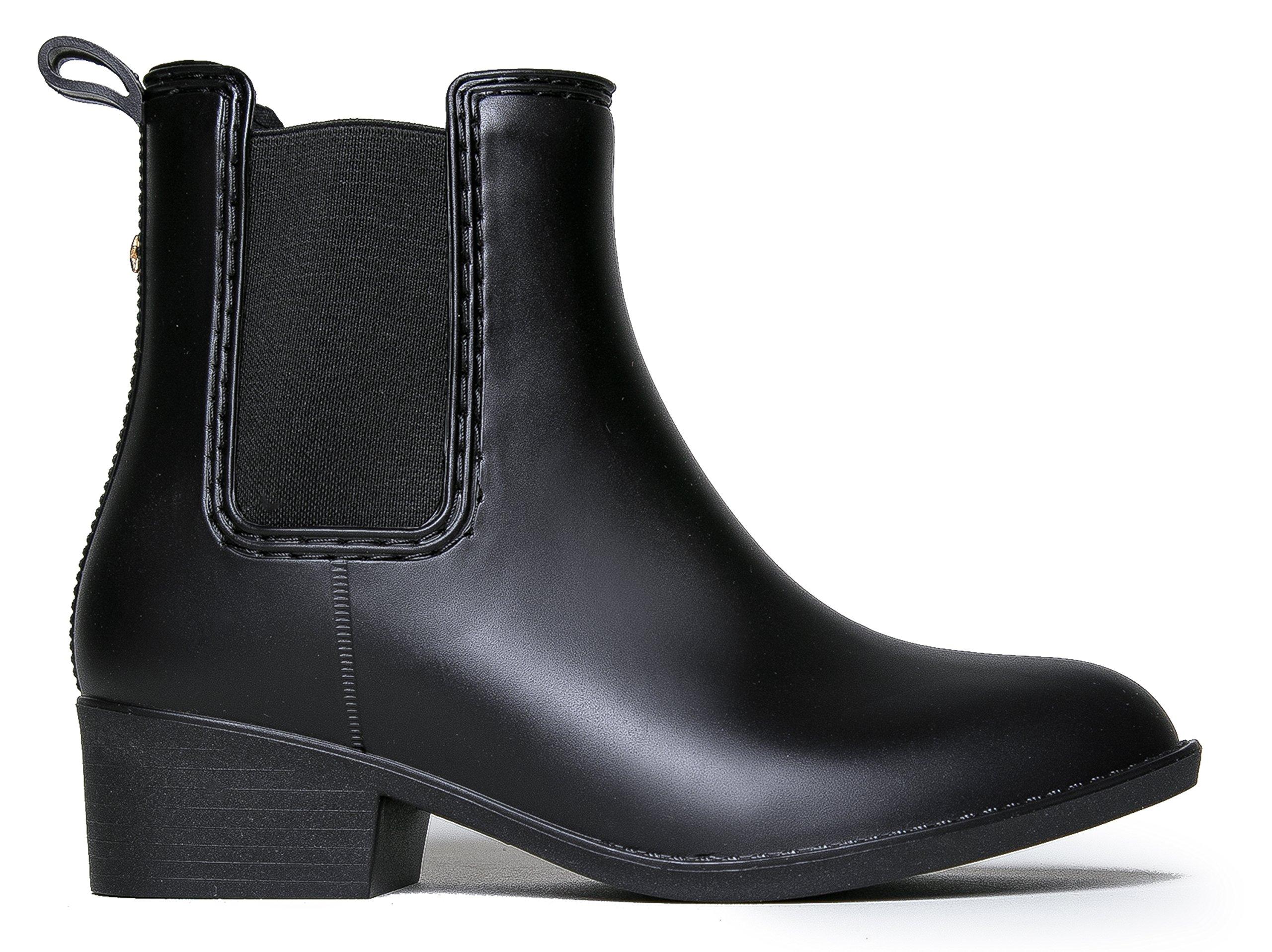 J. Adams Kaden Rain Boot - Casual Chelsea Low Heel Jelly Slip On Ankle Bootie