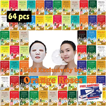 OBS lab 64 pcs Ultra Hydrating Essence Mask, Korean Facial Mask Sheet 4 x 16 Types , Moisturizing Skincare